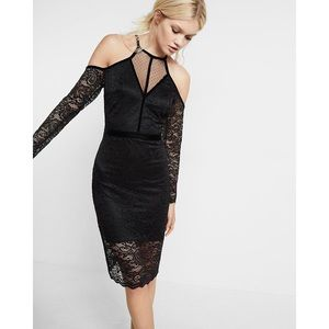 NWT Express Lace Velvet Piped Cold Shoulder Sheath